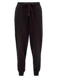 Allude Tapered Leg Wool Blend Trousers Black