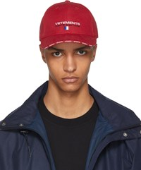 Vetements Red Haute Couture Logo Baseball Cap