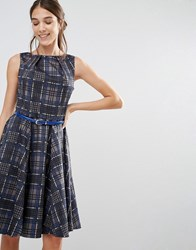 Closet London Checkered Belted Dress Multi Check