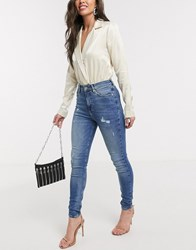 River Island Hailey Mid Rise Skinny Jeans Mid Auth Blue