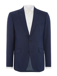 Simon Carter Puppytooth Check Suit Jacket Blue