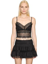 Charo Ruiz Cotton Voile And Lace Crop Top