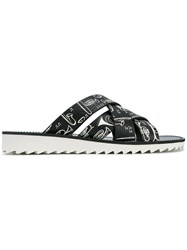 Dolce And Gabbana Music Printed Sandals Black