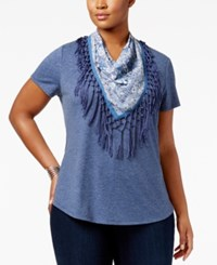 Styleandco. Style Co. Plus Size T Shirt With Fringe Scarf Only At Macy's New Uniform Blue