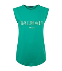 Balmain Logo Button Tank Top Female Green