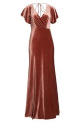 Jenny Yoo Ellis Flutter Sleeve Stretch Velvet Gown English Rose