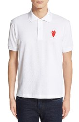 Comme Des Garcons Men's Stretch Heart Face Polo White
