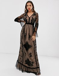 Frock And Frill Lace Detail Long Sleeve Maxi Dress Black