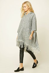 Forever 21 Marled Knit Hooded Poncho Cream Black