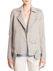 Theory Tralsmin Df Wool And Cashmere Moto Jacket Melange Grey