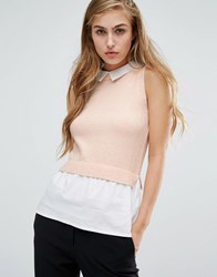 Miss Selfridge Sleeveless 2 In 1 Collar Top Pink
