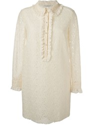 Philosophy Di Lorenzo Serafini Frill Collar Lace Dress Nude And Neutrals