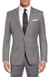 Boss Men's Hutsons Trim Fit Plaid Wool Sport Coat