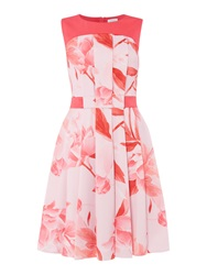 Untold Fit And Flare Dress With Printed Panel Pink