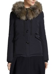 Moncler Malus Fox Fur Jacket Navy