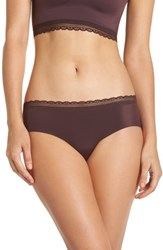 Naked Almost Lace Trim Hipster Briefs Eggplant
