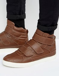 Asos High Top Trainers In Brown With Straps Brown