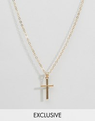 Reclaimed Vintage Mini Cross Pendant Necklace In Gold Gold