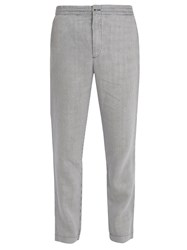 120 Lino Slim Leg Striped Linen Trousers White Multi