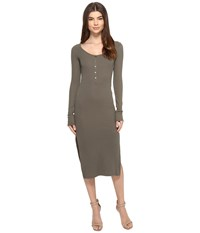 Culture Phit Long Sleeve Ribbed Button Up Midi Dress Olive Women's Dress