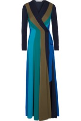 Diane Von Furstenberg Penelope Paneled Stretch Silk Wrap Maxi Dress Blue