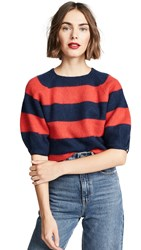 Demy Lee Demylee X Claire V Le Pouf Sweater Navy And Red Striped Mohair
