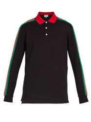 Gucci Logo Stripe Long Sleeved Cotton Blend Polo Shirt Black Multi