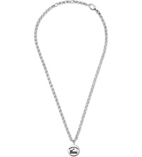 Gucci Vintage Trademark Engraving Sterling Silver Necklace