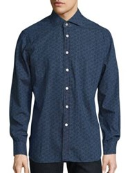 Kiton Abstract Printed Shirt Indigo