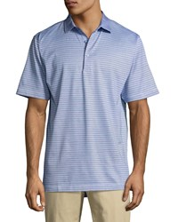 Peter Millar Crown Hickory Striped Polo Shirt White Blue