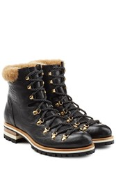 Rupert Sanderson Leather Mountaineering Boots Black