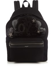 Saint Laurent City Canvas Backpack Black