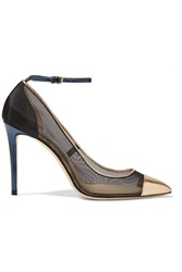 Jimmy Choo Tower Metallic Leather Paneled Mesh Pumps Gold