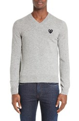 Comme Des Garcons Men's Play Wool V Neck Sweater With Heart Applique Light Grey