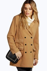 Boohoo Double Breasted Wool Look Coat Camel
