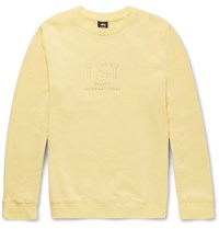 Stussy Embroidered Fleece Back Cotton Blend Jersey Sweatshirt Yellow