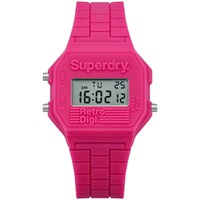 Superdry Women's Retro Digital Silicone Strap Watch Pink