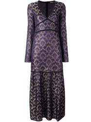 Roberto Cavalli Low V Neck Jacquard Dress