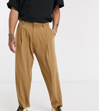 Noak Wide Leg Trouser In Darker Camel Brown