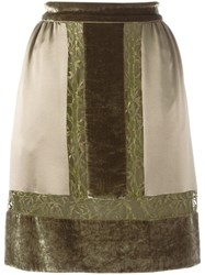 Alberta Ferretti Contrast Lace Panel Skirt Green