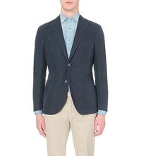 Slowear Single Breasted Linen And Cotton Blend Blazer Navy