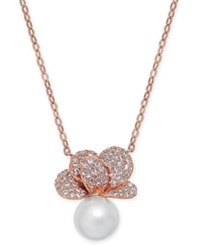 Danori Imitation Pearl And Crystal Pave Pendant Necklace 16 2 Extender Created For Macy's Rose