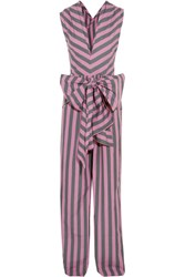 Tome Bow Detailed Striped Cotton Poplin Jumpsuit Pink