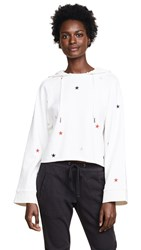 Pam And Gela Cropped Hoodie With Embroidered Stars Off White