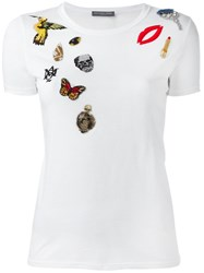 Alexander Mcqueen Obsession Embroidered T Shirt White