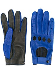 Manokhi Contrast Gloves Lamb Skin Blue