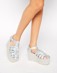 New Look Lucia Gladiator Strap Silver Flatform Sandals