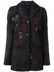 Avant Toi Embroidered Floral Single Breasted Coat Brown