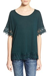 Junior Women's Chloe K Crochet Trim Tee Spruce