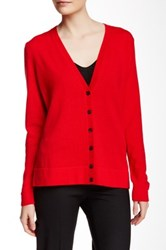 Lafayette 148 New York Long Sleeve V Neck Cashmere Cardigan Red
